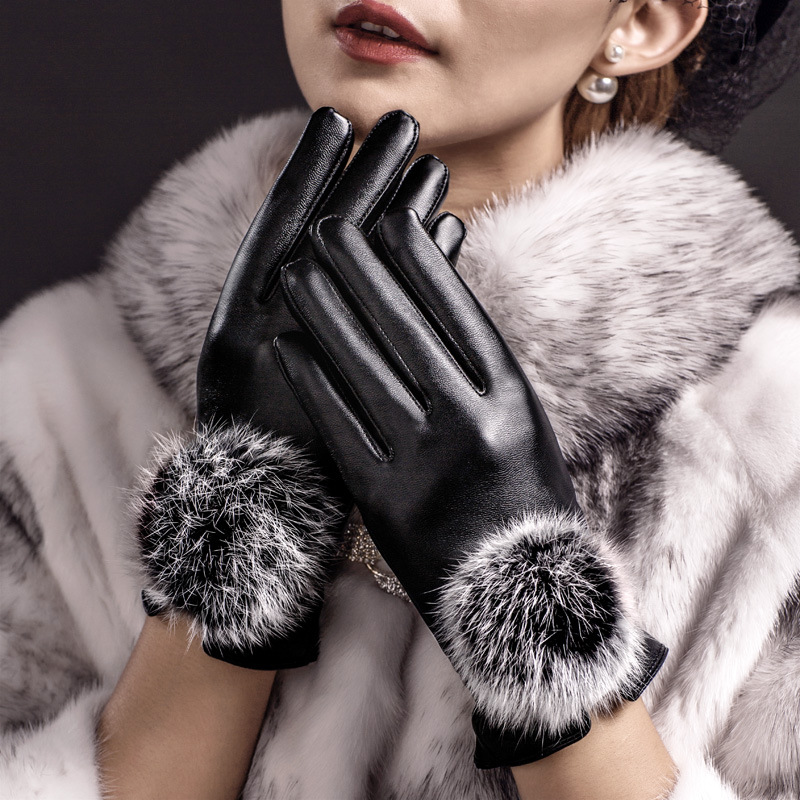 Moda Toque Luvas de Tela Luva Dedo Completa mittens luvas de Inverno de Couro Das Mulheres PU luvas de inverno mujer femme eldiven