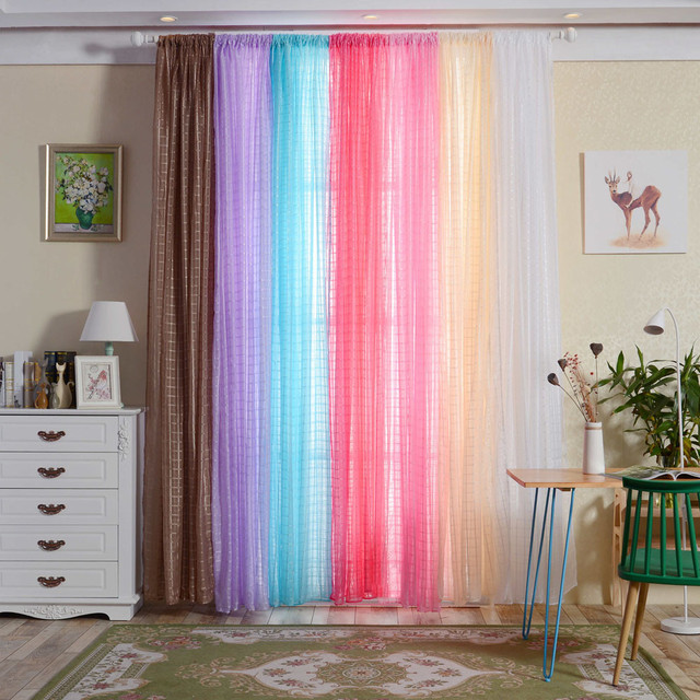 Simple Design Tulle Curtains For Living Room Balcony Transparent ...
