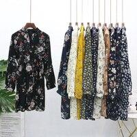 2017 New Korea Style Autumn Winter Women Knee Length Print Dress Vintage Full A Line Long