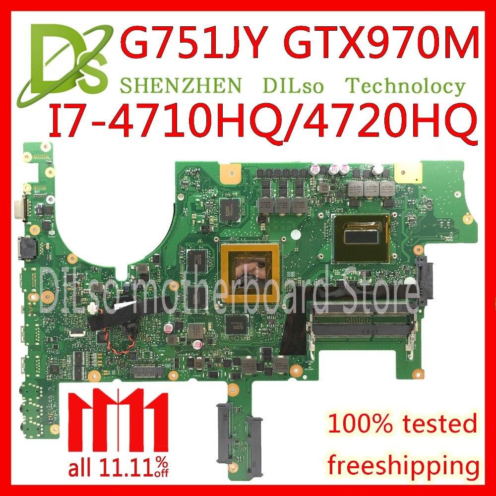 KEFU G751 carte mère Pour ASUS G751J G751JY G751JT G751JM ordinateur portable carte mère avec I7-4720/I7-4750 CPU GTX980M 4 gb carte mère test