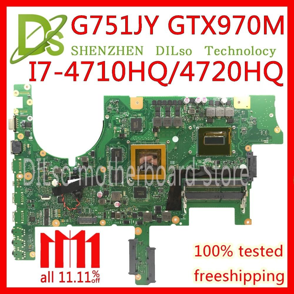 KEFU G751 motherboard For ASUS G751J G751JY G751JT G751JM laptop mainboard with I7 4720/I7 4750 CPU GTX980M 4GB mainboard Test