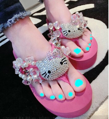 1d3a44094 2014 new hello kitty flip flops for woman adults pink sandals summer  fashion beading shoes