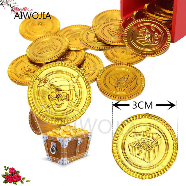 2017 Hot 100&50Pcs Plastic Gold Coins Pirate Treasure Chest Play ...