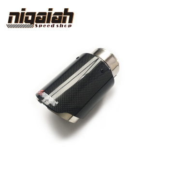 CLearance Sale Car-styling Bright Glossy Carbon Fiber Stainless Exhaust End Pipes Single Muffler Tips Free Shipping