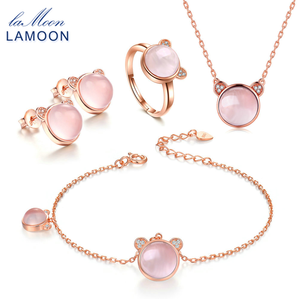 LAMOON Bear Real 925-Sterling-Silver Pink Natural Rose Quartz 4PCS Jewelry Sets S925 Fine Jewelry for Women Wedding Gift V017-1LAMOON Bear Real 925-Sterling-Silver Pink Natural Rose Quartz 4PCS Jewelry Sets S925 Fine Jewelry for Women Wedding Gift V017-1