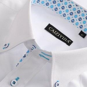 Image 2 - Camicie di cotone stampate floreali a contrasto Casual da uomo per le vacanze camicia con colletto abbottonato a maniche lunghe dal Design senza tasca