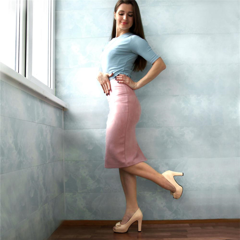 Neophil 19 Winter Women Suede Midi Pencil Skirt High Waist Gray Pink XXL Sexy Style Stretch Wrap Ladies Office Work Saia S1009 11