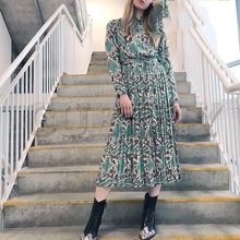 CUERLY Vintage green snake print women shirt dress summer spring Turndown neck long Retro fashion female animal vestidos