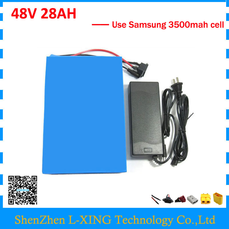 Free customs duty 48V 28AH Electric bike battery 2000W 48V 28AH lithium battery pack use samsung 3500mah cell 50A BMS 2A Charger free shipping customs duty hailong battery 48v 10ah lithium ion battery pack 48 volts battery for electric bike with charger