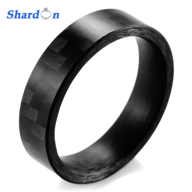Shardon 6mm High Tech Matte Finish Solid Carbon Fiber Ring Black Wedding Band Men