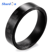 SHARDON 6mm High Tech Matte Finish Solid Carbon Fiber Ring Black Wedding Band men ring black fashion men rings engagement