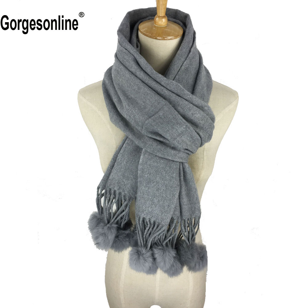 2018 Classic Cashmere Wool 100% Solid Warm Comfortable Women Winter   Scarf   Ladies   Wrap   Rabbit Fur Pom Pom Pashmina Wear Scarfs