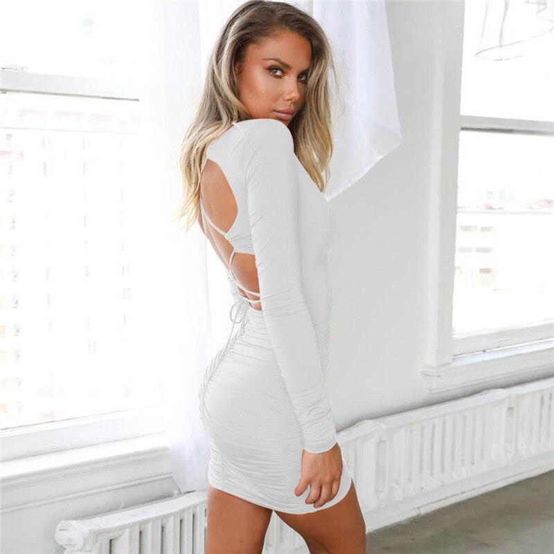 v neck backless ruched mini dress13