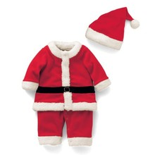 Kids Christmas Clothing Set Santa Claus Costume for Baby Xmas Party Clothes Romper Hat 2 Pcs