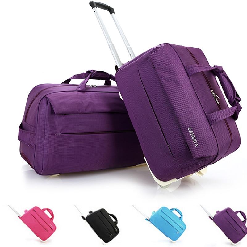 Nuevo trolley bolsa de equipaje rodando bolsas de viaje trolley de mano de mano bolsa de viaje trolley de equipaje mujeres y hombres bolsas de equipaje