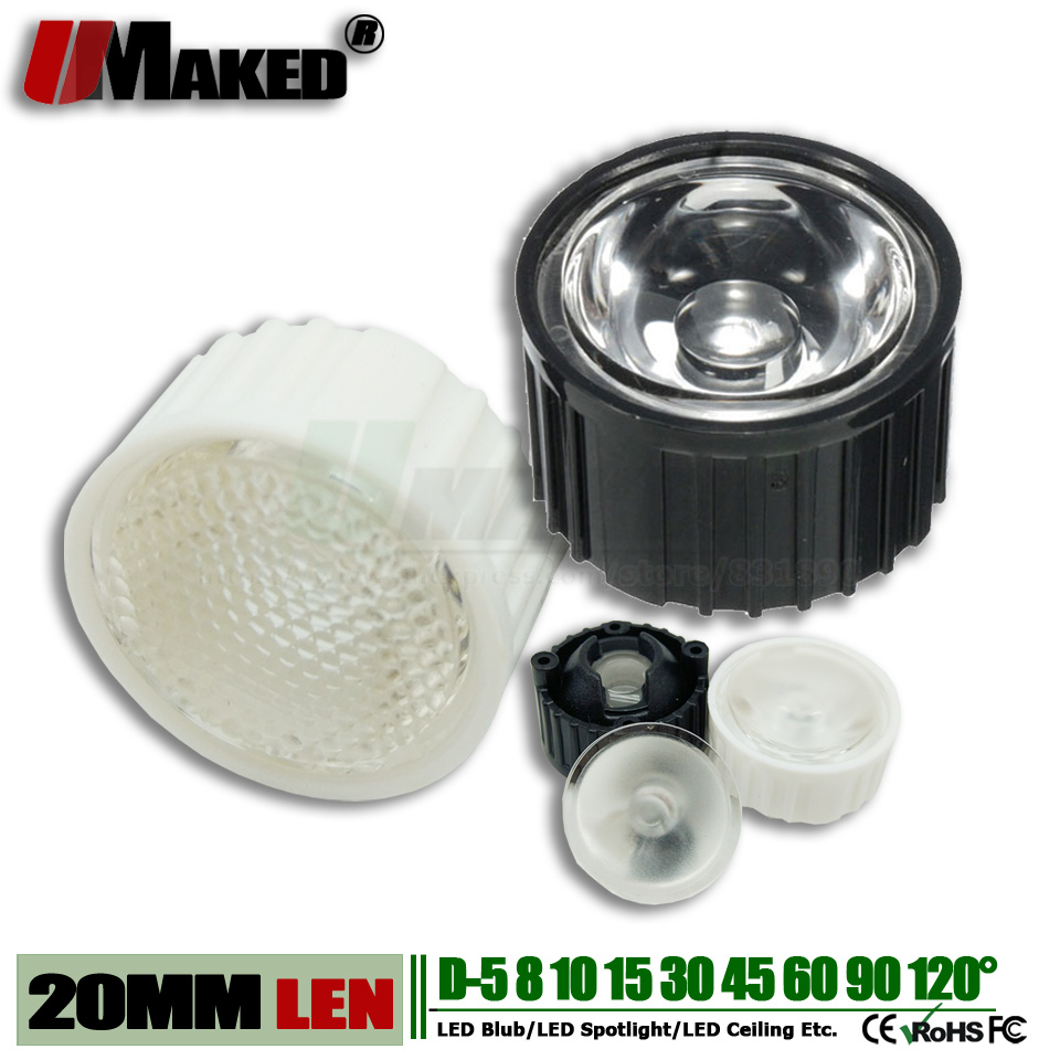 20MM LED Lens+Bracket Holder 1/3/5W High Power Light Chip Len PMMA 5 8 10 15 30 45 60 90 120 Degree For LED Downlight Floodlight