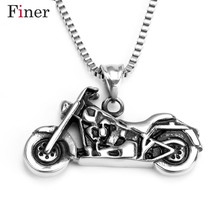 Punk Rock Motorbike Pendant Necklace For Men Stainless Steel Hiphop Long Casting Necklace Free Shipping