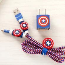 USB Cable Earphone Protector Set with Cable Winder Cartoon stickers USB Charger cable cord protector For iphone 5 5S 6 6s Plus