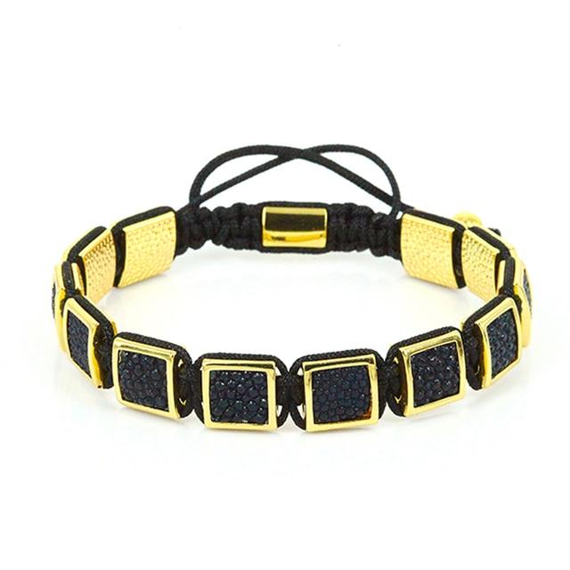 1PC Stingray Leather Square Bead Shamballa Braided Macrame Charm Wrap Bracelet,DIY Bracelets for Men Gifts