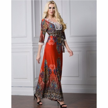 Islamic Abaya Dress Muslim Women Dress Long Sleeve Abaya Clothing Robe Kaftan Bohemia Style Silk Lace Red 1