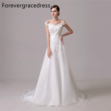 Forevergracedress Elegant Cheap Wedding Dress Off The Shoulder Lace Applique Long Bridal Gown Plus Size Custom Made
