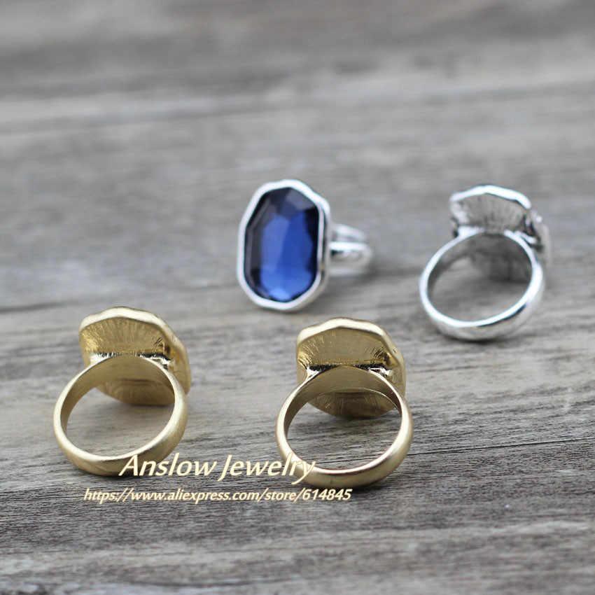 Anslow moda marca jóias de prata cor ouro grande irregular cristal dedo anel para o casamento feminino noivado low0006ar