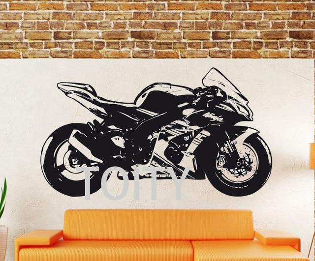 Kawasaki Ninja Zx 10r Sticker Mural Moto Vinyle Autocollant Dortoir