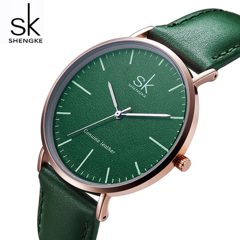 Shengke Top Brand Women Leather Watches Luxury Quartz Watch Ladies Wristwatch Women Clock 2018 New Relogio Feminino #K0082 shengke luxury watches women rhinestone bracelet watches ladies quartz wristwatch relogio feminino 2018 female clock k0011