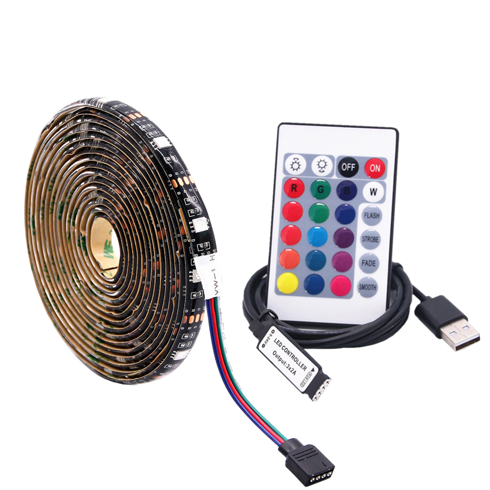 5050 5V USB Port Power RGB LED Strip Light Tape Flexible String Lamp Waterproof 1M 2M 3M 4M 5M TV Background Decoration Lighting