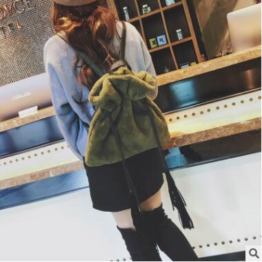 2018 new cute solid faux fur backpack winter warm soft women's big plush back pack shoulder bag for lady soft handle tassel bag faux fur duffle shoulder bag