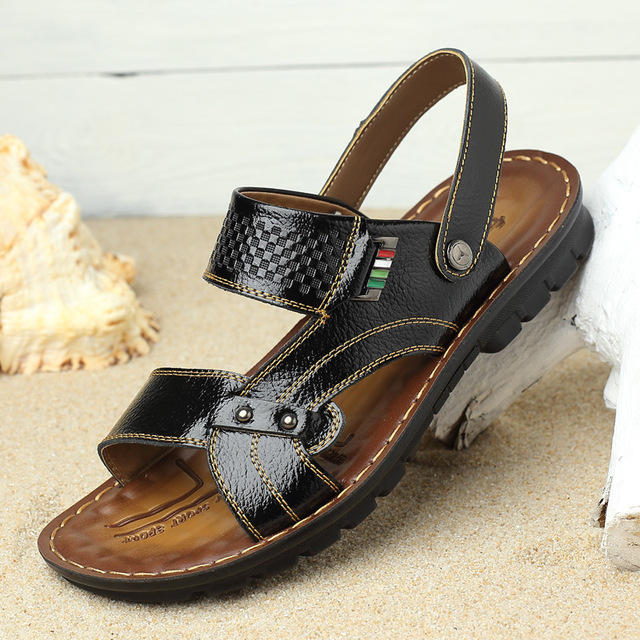 a34f4e4e0c DreamShining New Flat Men Sandals Men Beach Summer Sandals Leather Sandal  Shoes Fashion Brand Leather Male Sandals-in Men's Sandals from Shoes