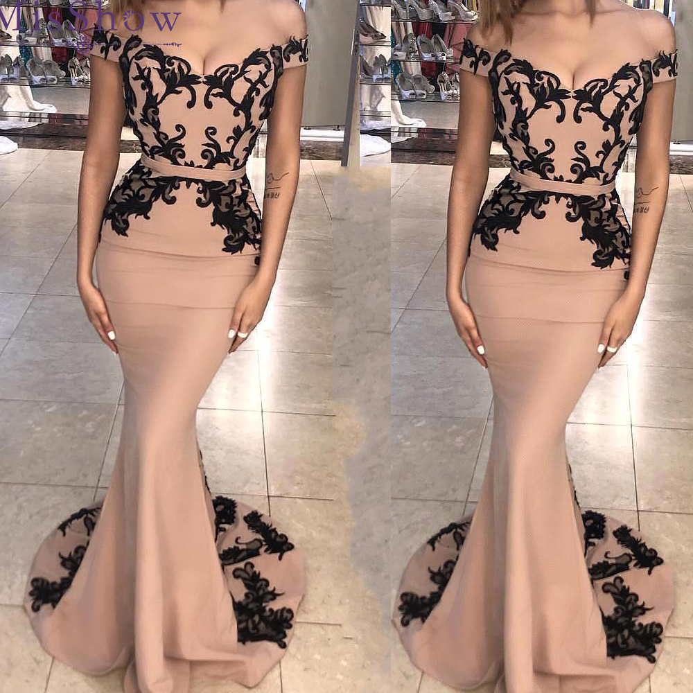 2019 pink Lace Appliques Off the Shoulder Mermaid   Bridesmaid     Dresses   Long Vestido De Festa Maid Of Honor   Dress   Vestido De Festa