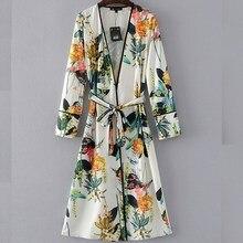 2017 Fashion Vintage Floral Print Kimono Shirt Women Retro Long Beach Kimono Cardigan Elegant Blouse Sashes Tied Bow femme blusa