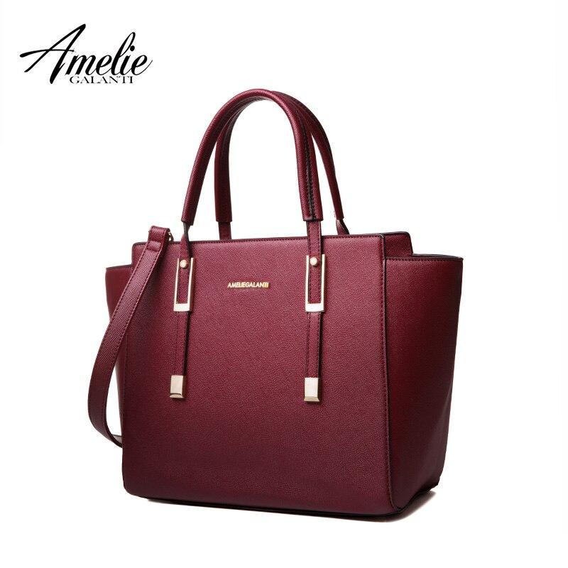 Amelie galanti moda mujeres hsndbags alta quaility pu mensajero casual Trapeze sólido marcas famosas versátil zipper color 2017
