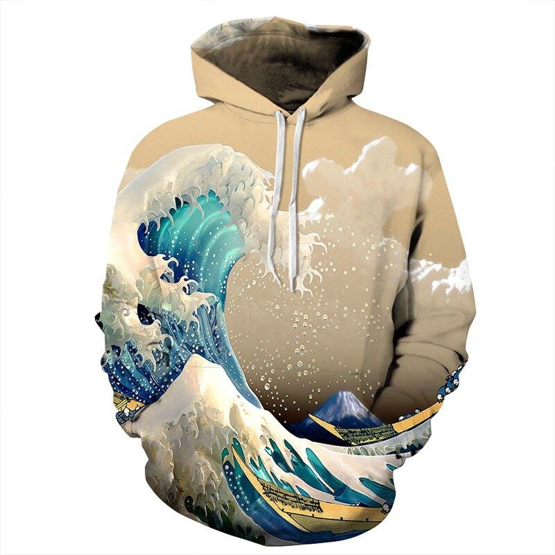 Mr 1991INC New Fashion Waves Hoodies Men Women 3d Sweatshirts Print Colorful Sea Waves Unisex Thin