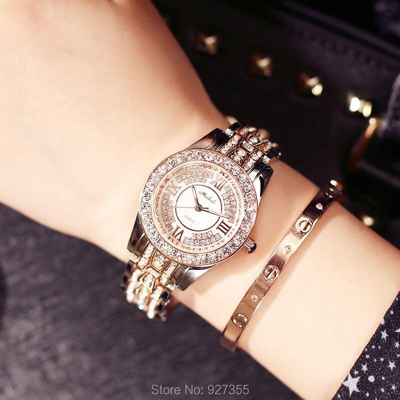 2017 Mashali Fashion Women Watches Stylish Rose Gold Crystal Rhinestones Quartz Wristwatch Lady Bracelet Relogio Casual Watch l 10 women s stylish petals style bracelet quartz analog wristwatch golden white 1 x lr626