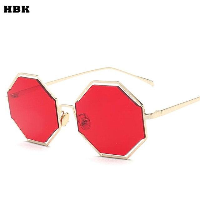 Mode Sonnenbrille Frauen Marke Designer mit kleinem Rahmen Polygon klare Linse Sonnenbrille Männer Vintage Sonnenbrillen Hexagon Metallrahmen, Gold Dunkelgrün