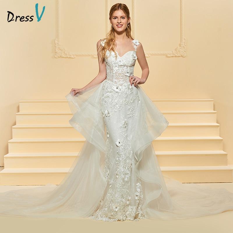 Dressv Ivory Long Wedding Dress Straps Sleeveless Lace Watteau Train Mermaid Appliques Beading Lace Ruffles Custom