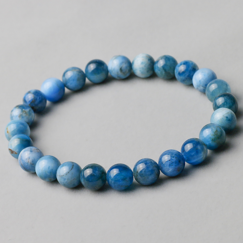 Natural Genuine Blue Apatite Phosphorite Round Loose 8mm Smooth Beads Bracelet For Women Men Energy Jewelry