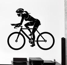 Environmental female bike rider sport stickers vinyl wall decals mural art fitness health movement decoration F-151