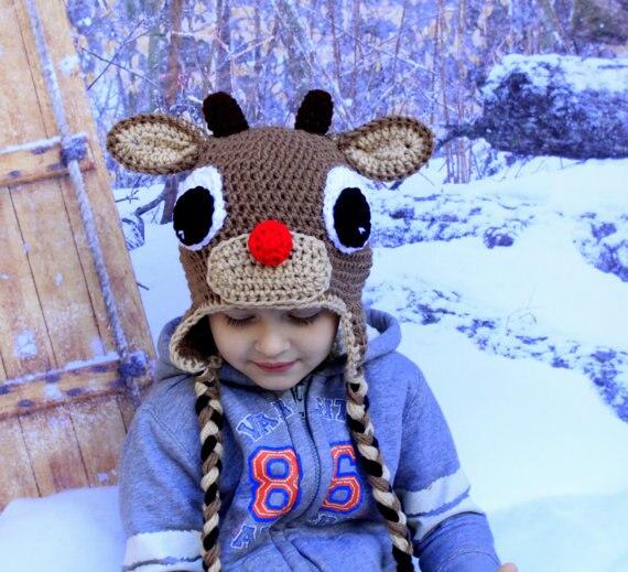 Crochet Baby Reindeer Hat Newborn Rudolph Hat Baby Rudolph Baby