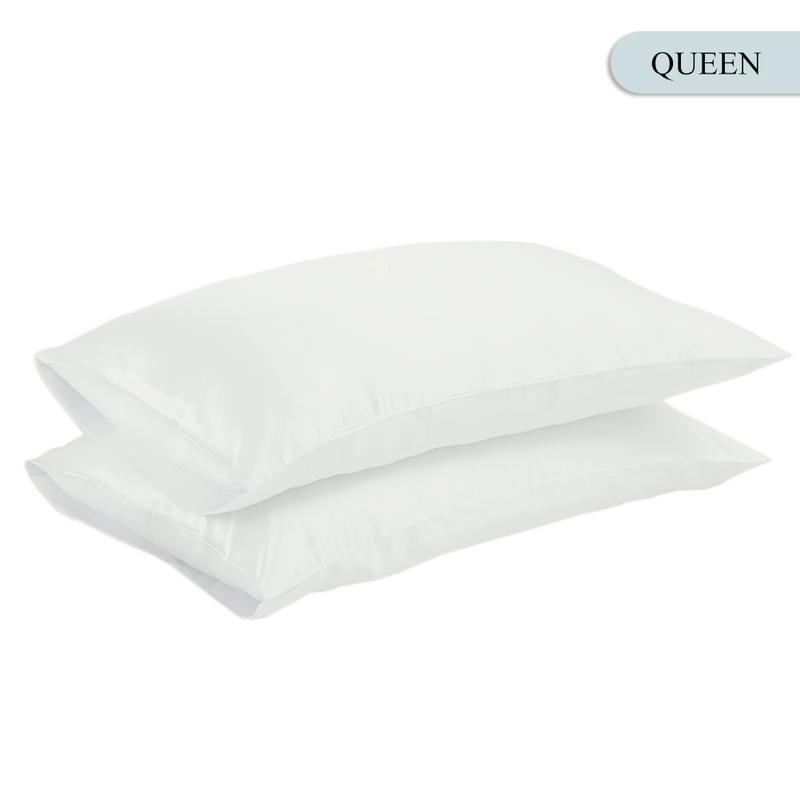 Queen/KING Silk Satin Pillow Case Bedding Pillowcase Smooth Home White Black Grey Khaki Sky Blue Pink Sliver 12