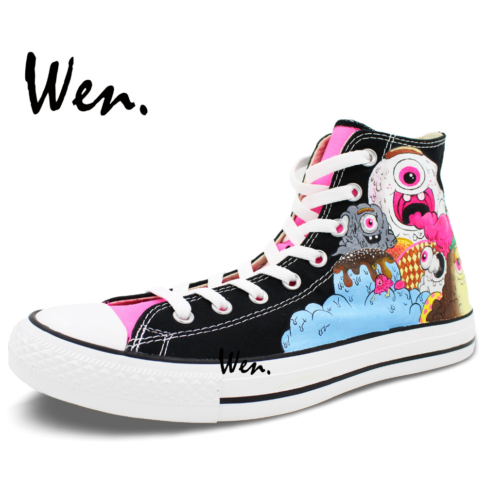 Wen Original Design Custom Hand Painted Shoes Ice Cream Monster Color High  Top Men Women s Black Canvas Sneakers-in Skateboarding from Sports ... a3b08f1d26c7