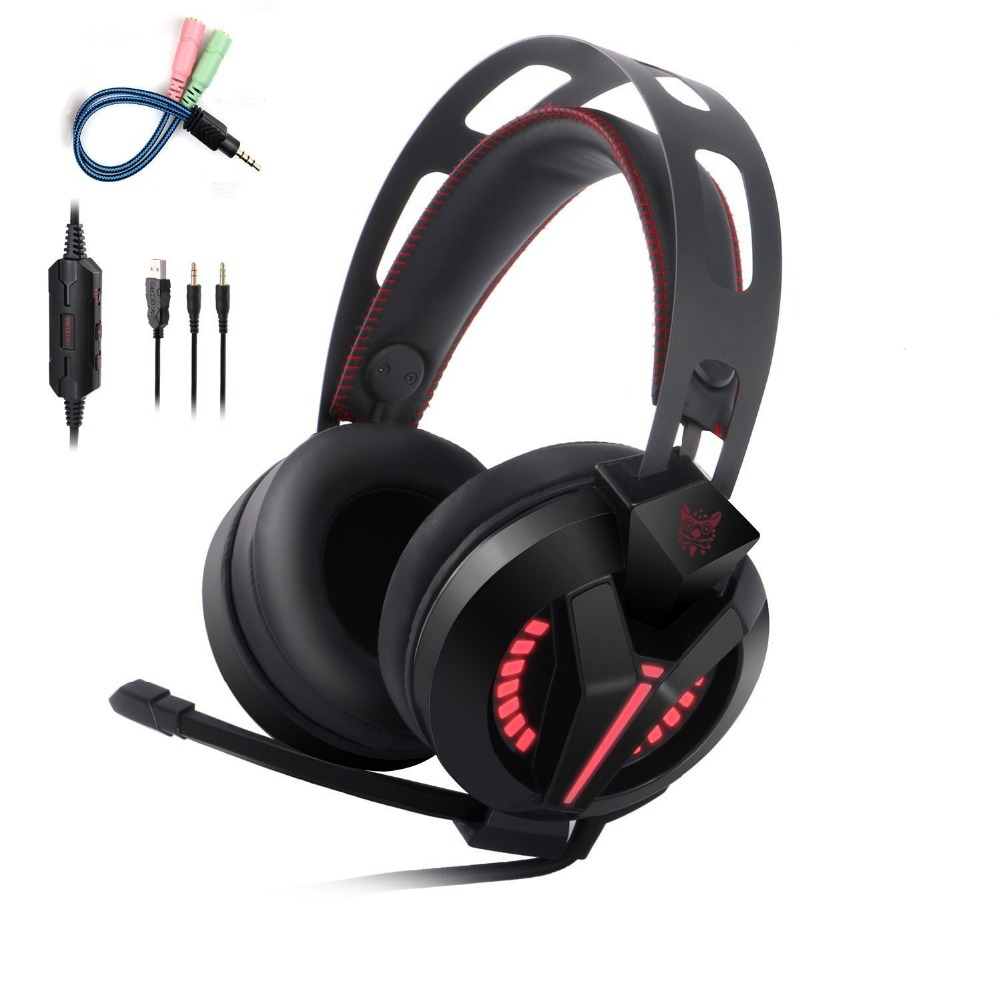 INTONE M180 PS4 Gaming Headset Gamer casque Over Ear Best Stereo Bass Gaming Headphones with Microphone for PS4 Xbox One PC high quality gaming headset with microphone stereo super bass headphones for gamer pc computer over head cool wire headphone