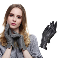 Fashion Euramerican Elegant Women's Gloves Winter Genuine Leather Warm Cashmere Gloves H9