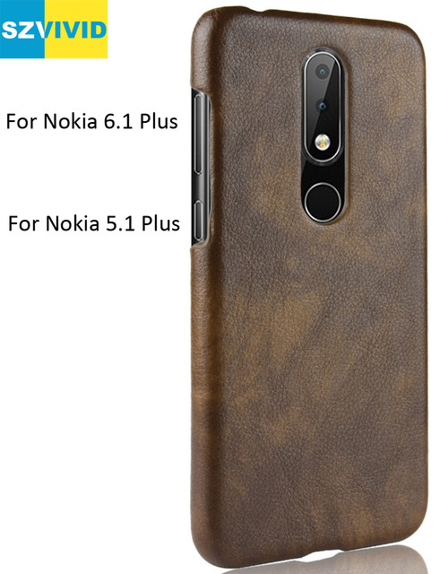 wholesale dealer 9d8bf bb878 US $4.99 |Retro Vintage Cover Case For Nokia 6.1 Plus PU Leather Back  Protective Shell 5.1 Plus 2.1 3.1-in Half-wrapped Case from Cellphones & ...