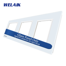 WELAIK EU Touch-Switch DIY-Parts  Glass-Panel Only-Wall-Light-Switch-Crystal Glass-Panel Square-hole  A3888W1/B1