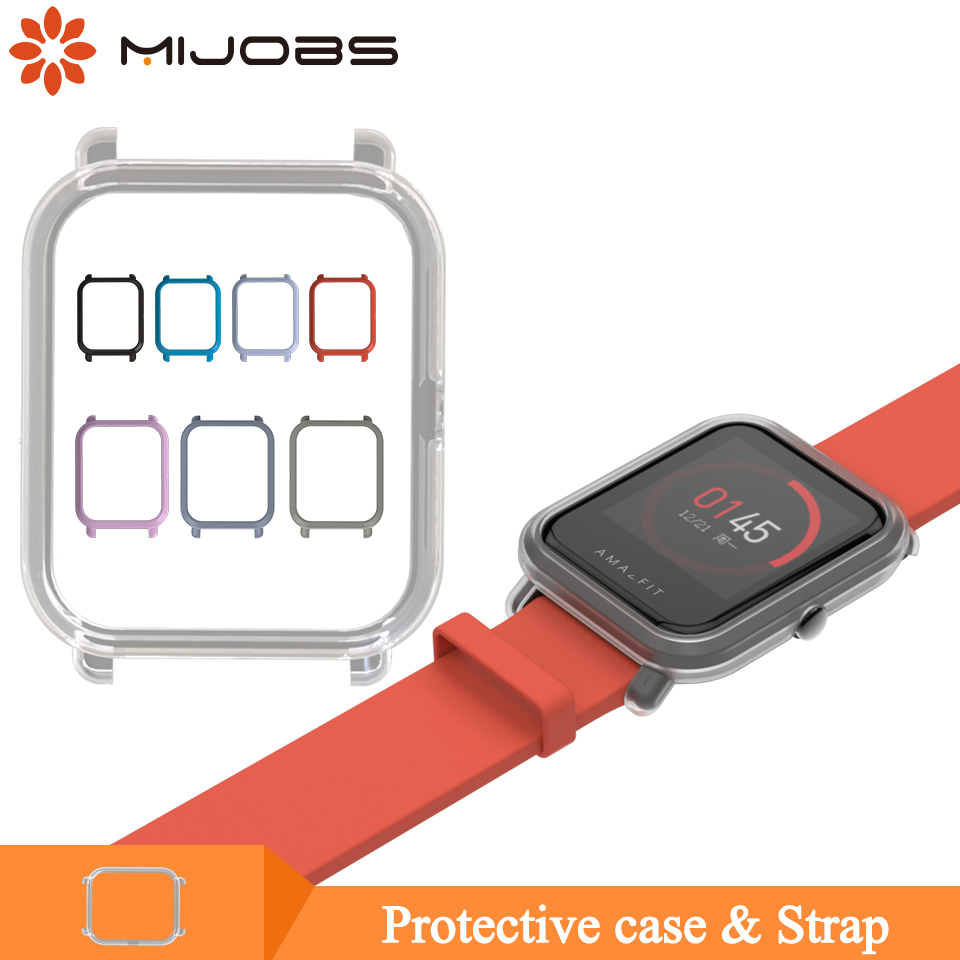 Mijobs Bracelet Strap Protective Case Cover For Xiaomi Huami Amazfit GTS Bip BIT PACE Lite Youth Watch Plastic PC Shell Bumper