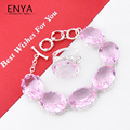 New Fashion Charming Pink Synthetic Topaz Silver Plated Bracelet & Ring Jewelry Sets Wedding Party Jewelry Sets