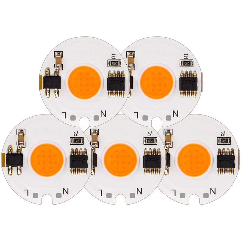 5pcs LED COB Chip Lamp Input Smart IC Driver 12W 9W 7W 5W 3W 220V 230V 240V For DIY LED Spotlight Floodlight Day Warm Cold White arlight светильник lgd 678wh 9w day white 25deg